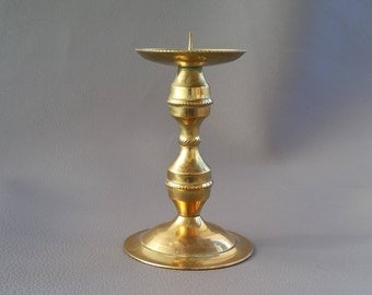 Candle Stick, brass, pricket, with delicate, tasteful, decorative patterning around it