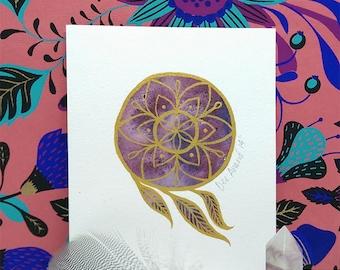 Dream Mandala Original Ink and Gouache Mini Painting - Illustration Original Artwork Wall Decor