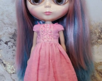 Blythe Dress – Bright Pink - OOAK - Hand Dyed – Boho/vintage/shabby chic inspired
