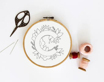 Letter C Embroidery Pattern, Floral Embroidery Pattern, PDF Embroidery Pattern, Initials Embroidery Pattern, Embroidery Design PDF Download