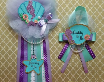 Mermaid Baby Shower Corsage/ Mermaid Baby Shower Pin/ Mommy To Be/ Daddy To