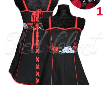 Cotton black with skull detail and corseted back full dress.