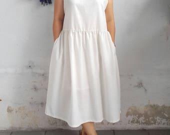Linen Dress / Sleeveless Linen Dress in Ivory
