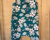 Teal Flower Romper - Organic Jersey Cotton - Baby, Toddler, Children's - Girls, Boys, Unisex - Handmade from Bear & Babe