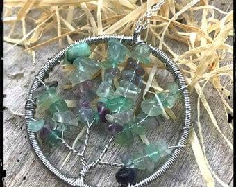 Fluorite Crystal, Healing Crystals, Meditation Jewelry, Tree of Life Necklace, Zen Jewelry, Reiki, Healing stones, Fluorite, Genuine Crystal