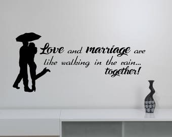Love Quote Wall Decal Couple In The Rain Silhouette Sticker Love And Marriage Saying Inspirational Art Decorations for Home Room Decor hq16