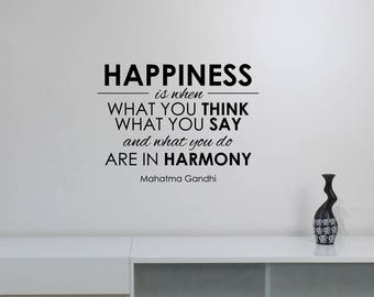 Happiness Gandhi Quote Wall Decal Vinyl Lettering Motivational Saying Sticker Harmony Art Decorations Home Room Inspirational Decor gq2