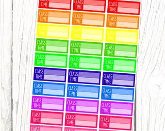 Class (Rainbow Collection) | School, College, University, Course, Education, Planner Stickers