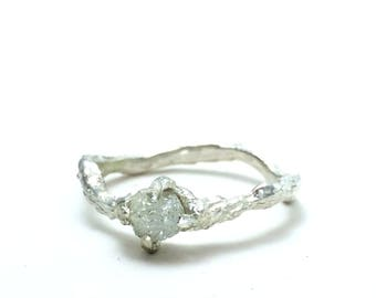 Raw diamond engagement ring Nature engagement ring Nature jewelry