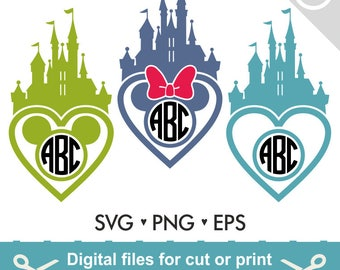 Disney Castle Svg Disney Svg Disney Monogram Svg Princess Castle Svg Frame Cut Files - Svg Dxf Silhouette Studio Cricut Png