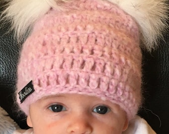 FREE SHIPPING! Easter Sale! 3-6 Months - Pink Crocheted Baby Pom Pom Beanie - Made with Ultra Soft Alpaca Wool Blend