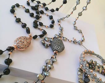 Handmade Rosario Unprocessed Iridescent Pearl and Dark Gray Hematite Necklace,Silver 925o Button,Εlement with Zircon and Brass
