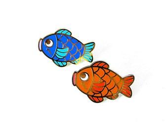 koi fish duo hard enamel pin set