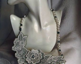 Vintage Lace Bridal Necklace, wedding, textile jewerly, eco friendly, OOAK, statement piece, beaded, wearable art.