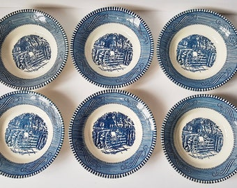 1960s Currier And Ives Dishes, Vintage Blue And White Royal China, 6 Fruit/ Dessert Bowls With Old Farm Gate Pattern, 5 5/8 Size Bowl