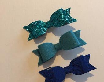 Set of 3 hair bows, handmade, 100% wool felt, chunky glitter hair bows