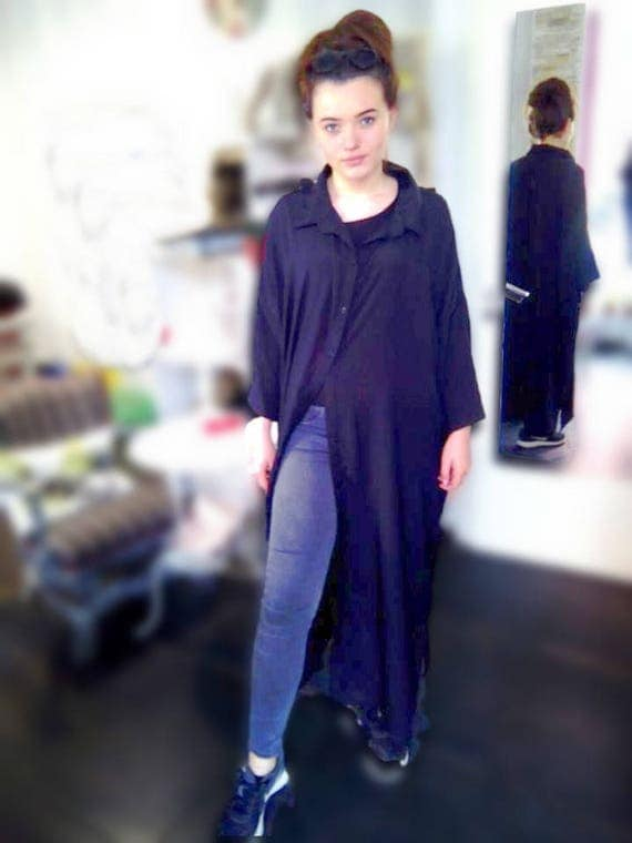 Oversized Extra Long Woman Shirt Dress / Extravagant Maxi Black Shirt / Plus Size Loose Black Silk Shirt / Sexy Summer Long Shirt Dress