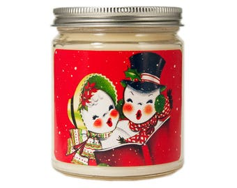 Snowman Candle, Personalized Candle, Christmas Candle, Holiday Candle, Scented Candle, Candle Gift, Soy Candle, Holiday Decor