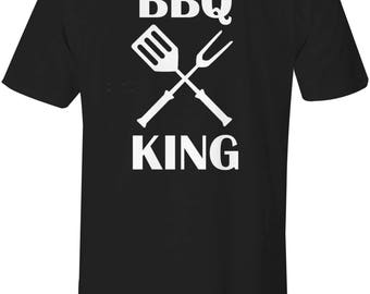 BBQ Shirt - Barbecue T-Shirt - Front & Back Design - BBQ King on your back Shirt - Chief - Mens Thirt - Grill Master - More Colors Available