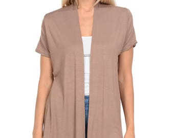 Short Sleeve Open Front Vest Mocha