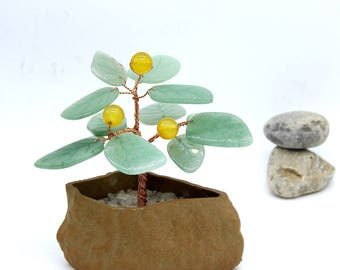 Green Aventurine Wire Tree Yellow Agate Gemstone Wire Sculpture Gemstone Bonsai Decor Lucky Tree Feng Shui Decor Money Tree Beaded Bonsai