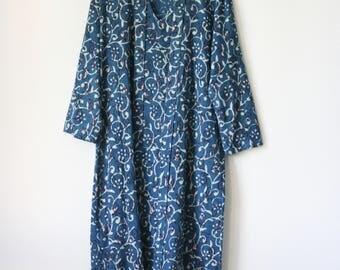 ALAYO Dress | indian hand block printed, natural dye, vegetable dye, cotton maxi dress, kaftan, floral pattern, boho, bohemian | by Kochab