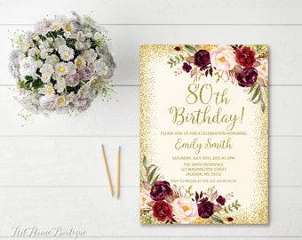 80th Birthday Invitation, Any Age Women Birthday Invitation, Floral Ivory and Gold Women Birthday Invitation, Boho Birthday Invite, #BW39-80