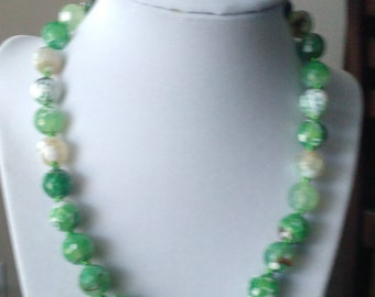 Hand Knotted Green Fire Agate Necklace with matching Bracelet