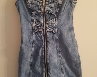 Totally 80's Denim Zip Up Mini Tank Dress with Denim Bow Accents - Very Cute and Very Retro! Has Some Stretch - Size Small