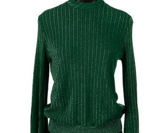 Vintage 1970's Emerald Green and Silver Long Sleeve Jumper Top