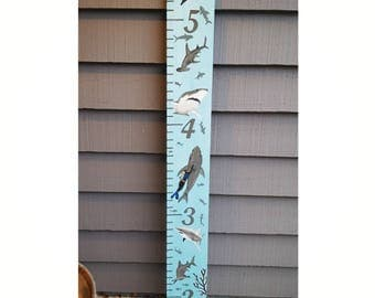 Shark Room Decor, Underwater Growth Chart, Sea Creatures, Great White Sharks, Hammerheads, Custom Handpainted Wooden Growth Chart, Kid Gift