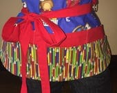 Blue and Red Crayon and School Half Waist Pocket Apron