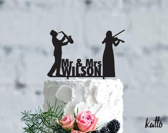 Musicians wedding cake topper, Wedding Cake Topper, Personalized funny cake topper, Violin, saxophone, music, Musical instrument Cake Topper