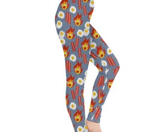 Calcifer Leggings - Howls Moving Castle Leggings Ghibli Leggings Plus Size Leggings Magical Leggings Anime Leggings Fire Demon Leggings
