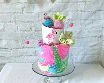 Tropical baby shower, Flamingo baby shower, Flamingo diaper cake, Let's flamingle shower, Tropical diaper cake, Lilly Pulitzer, Monogrammed