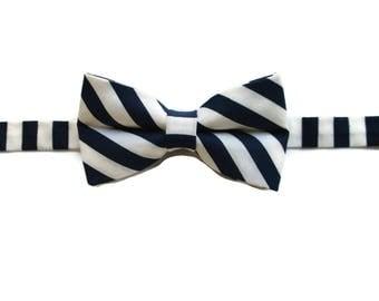 Navy Blue Boys Bow Tie - Bow Tie for Boys - Pre-tied Bow Tie - Blue Bow Tie -Bow Tie with Stripes - Kids Bowtie