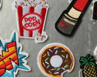 1pc Popcorn Donut iron on patch sew on patch embroidery  embroidered patch