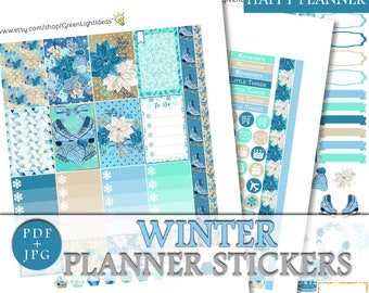 Winter Happy Planner Printable Stickers, Happy Planner Winter Weekly Kit, Mambi January Sticker Kit Digital, Winter Planner Sticker Kit