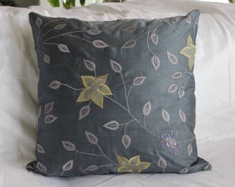 Charcoal Grey Embroided Dupioni Silk Pillow Cover
