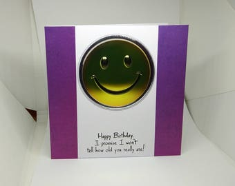 Male Birthday Card - Smiley Face - luxury personalised unique quality special bespoke UK - Dad/Son/Uncle/Brother/Nephew