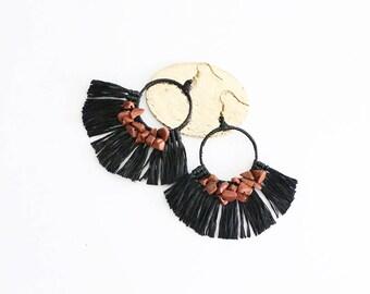 Wax Cord Tassel Earrings With Stones