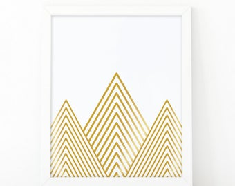 Geometric mountains, Mountain Print, Abstract wall art, Kids Room Decor, Gold mountains, Scandinavian Print, Printable art, Minimalist art