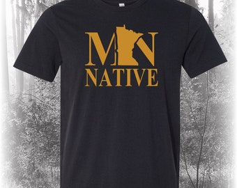 Black Minnesota Native Shirt, Native Minnesota Shirt, Minnesota Shirt, MN Shirt, Minnesota State Shirt