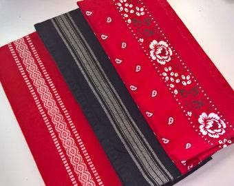 Kitchen Towel Gift Set, Housewarming Gift, Hand Towel Set, Red & Black Kitchen Towels, Gift for Mom, Gift for Her, Red Kitchen Decor