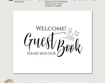 guest book sign template instant download gray and yellow. Black Bedroom Furniture Sets. Home Design Ideas