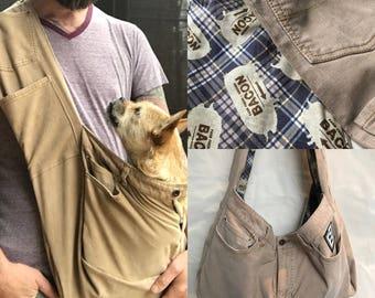 Bullshitz Doggie Bagz: Beige Cords with Bacon Plaid