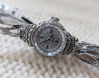 Small faced rodium plated and marcasite Victorian design Hivana Swiss made mechanical watch