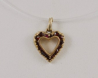 14k Yellow Gold Heart Pendant With Deep Red Stone