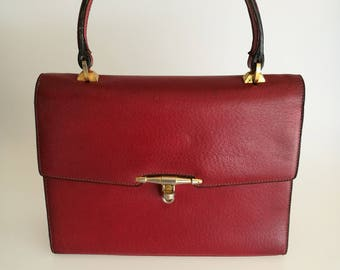 GUCCI Vintage Burgundy / Red Leather Handbag, circa 1970s
