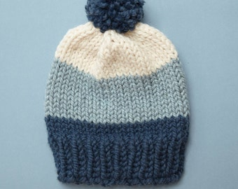 Womens Pom Pom Hat / Winter Hat / Chunky Knit Hat // THE ALBERT Free Shipping